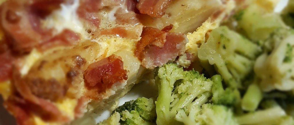 Potato Bacon Frittata and Broccoli in olive oil and garlic