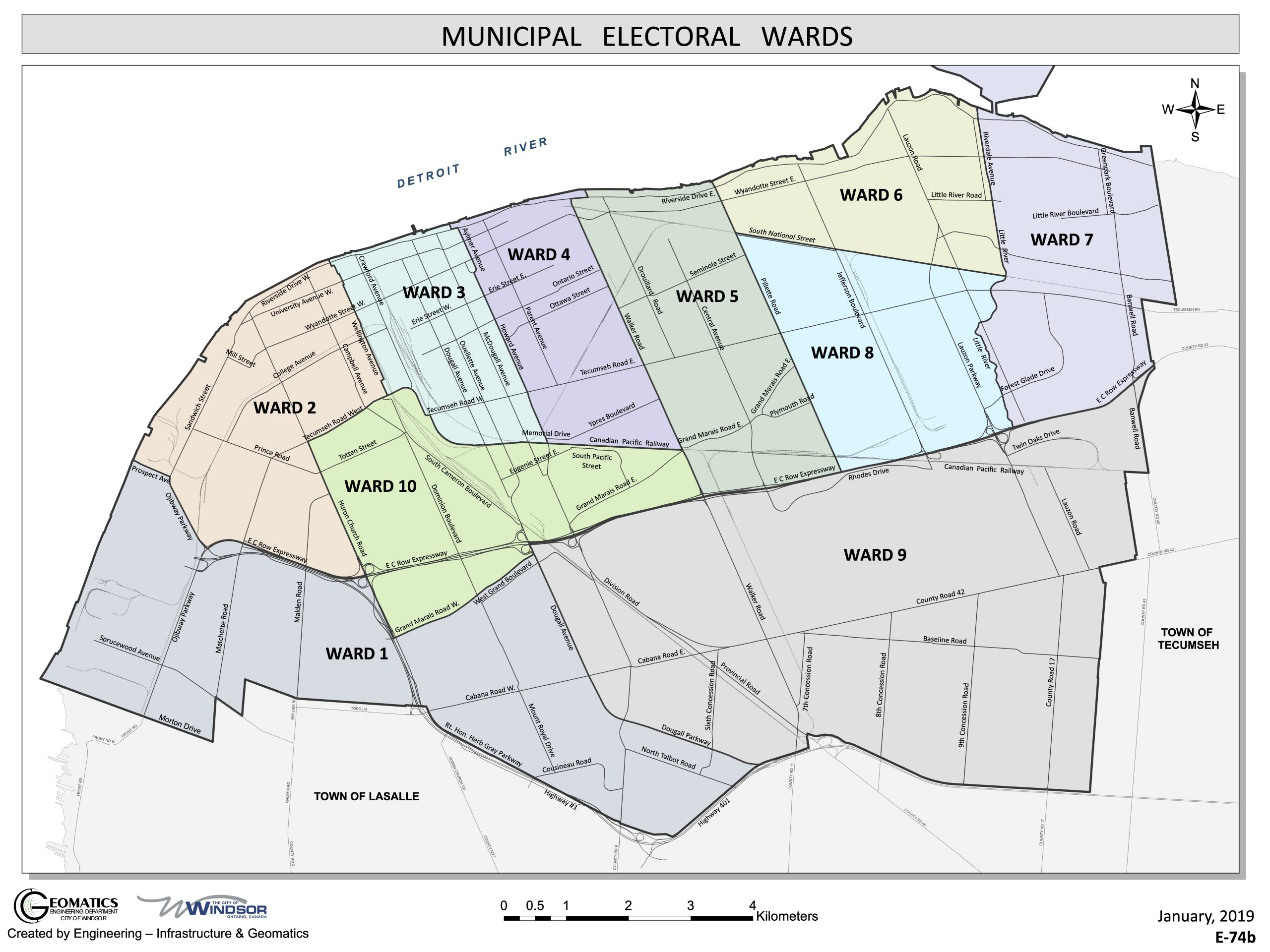 City of Windsor Ontario Ward Map